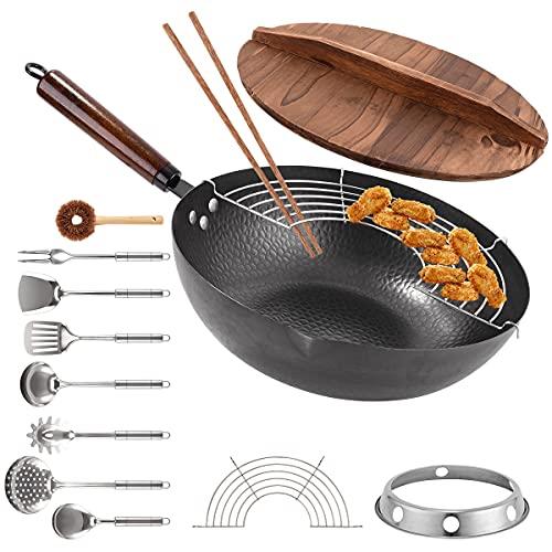 "Carbon Steel Wok Pan, 13 PCS Set 13"" Stir Fry Pan with Wooden Lid &..."