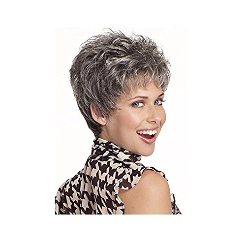 Beauty : LEJIMEI Short Curly Wigs for Women - Silver Grey Wigs with Bangs Heat Resistant Synthetic Hair Fashion Wig + Wig Cap