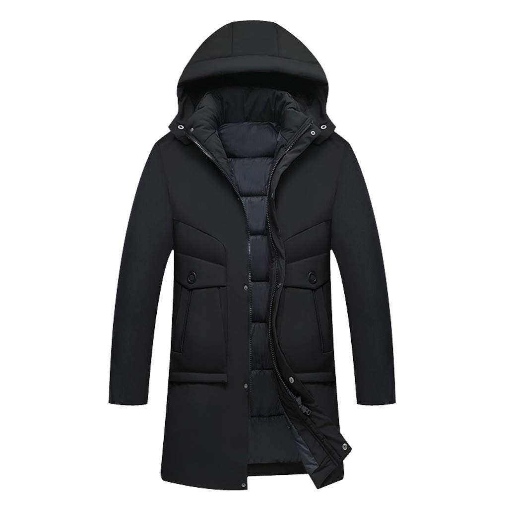 Eoeth Men's Zipper Button Sweatshirt Winter Warm Pure Color Hoodie Patchwork Thickened Cotton-Padded Coat Down Jacket Black by Eoeth