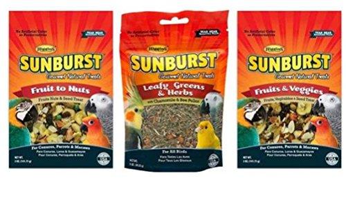 Higgins Sunburst Gourmet Natural Treats 3 Flavor Variety Sampler Bundle: (1) Fruit To Nuts, (1) Leafy Greens & Herbs, and (1) Fruits & Veggies, 1-5 Oz. Ea. (3 Bags Total) - Sunburst Leafy Greens