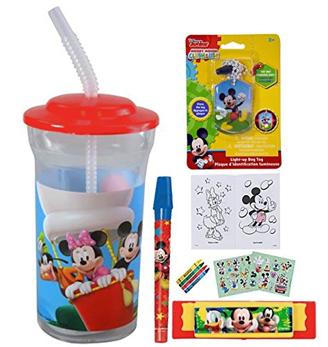 Mickey Mouse Clubhouse Fun Sip Favor Cup! Valentines Gift, Easter Basket Filler, Stocking Stuffer or Party Favor! Pre-Filled & Ready For Giving! Includes Keepsake Tumbler, Stickers & Favors!