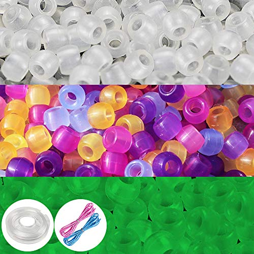 Quefe 1000 Pcs UV Beads Color Changing Sun Beads Reactive Plastic Solar Beads with Elastic Crystal String Cord for Jewelry Making DIY Necklace Bracelet- Also Glows in The -