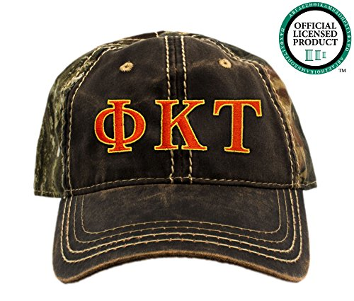 Phi Kappa Tau Embroidered Camo Baseball Hat, Various Thread Colors