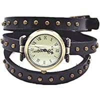 MINILUJIA Leather 3 Wrap Around Women Watches with Vintage Bronze Rivet Leather Strap Black Roman Number Dial (rivet style)