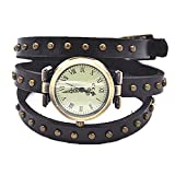 MINILUJIA Leather Watch 3X Wrap Around Women Watches with Vintage Bronze Rivet Leather Strap Black Roman Number Dial (Rivet Style)
