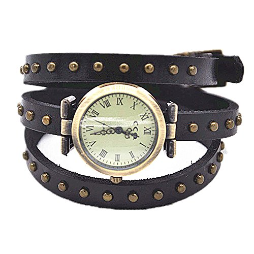 MINILUJIA Leather Watch 3X Wrap Around Women Watches with Vintage Bronze Rivet Leather Strap Black Roman Number Dial (Rivet Style) (Brown Roman Dial)