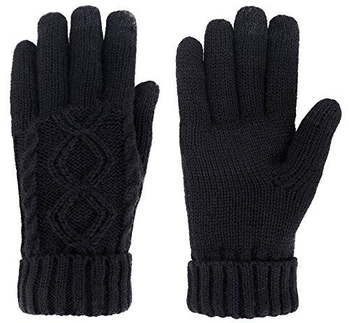 Womens Cable Knit 3 Finger Touchscreen Sensitive Winter Gloves Black