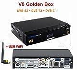 Freesat HD 1080P V8 Golden DVB-S2/T2/C HD Satellite Receiver Support power Vu, IPTV, Youtube + USB WIFI