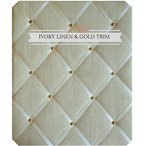 X Large Size Ivory Linen Memo Board with Gold - Board Covered Fabric Memo