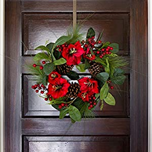 Lighted Amaryllis Christmas Wreath 18 Inches Holiday Winter Greenery Pinecones and Red Berries 3