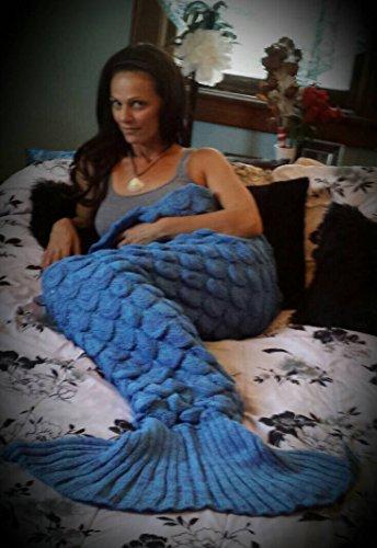 Mermaid Tail Blanket, Crochet Knitted Sleeping Bag Sofa Bedding Cozy Blankets for Girls Adults Kids All Season