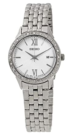 Seiko Womens 28mm Steel Bracelet & Case Hardlex Crystal Quartz White Dial Analog Watch SUR695
