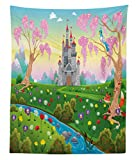 Lunarable Cartoon Tapestry Twin Size, Fairy Tale Castle Scenery in Floral Garden Princess Kids Girls Fantasy Picture, Wall Hanging Bedspread Bed Cover Wall Decor, 68 W X 88 L inches, Multicolor