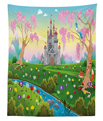 (Lunarable Cartoon Tapestry Twin Size, Fairy Tale Castle Scenery in Floral Garden Princess Kids Girls Fantasy Picture, Wall Hanging Bedspread Bed Cover Wall Decor, 68 W X 88 L inches, Multicolor)