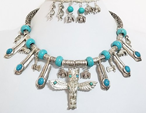 Northwestern Pewter Totem Turquoise Indian Tribal Necklace 4 x Earrings One of a Kind