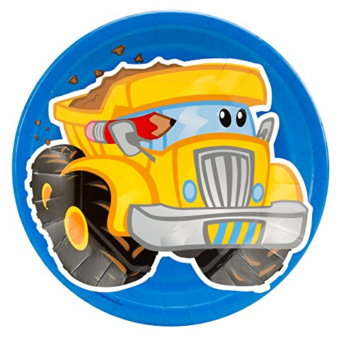 BirthdayExpress Construction Party Supplies - Dinner Plates (8) -