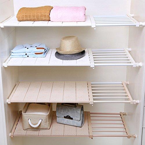 Adjustable Wardrobe Closet Storage Rack Layered Partition Board Commodity Shelf Wardrobe Partition Storage Rack Kitchen Shelf Beige 33-53cm 30cm