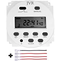 JVR 12V Timer Switch Programmable Digital 12 Volt DC/AC/Solar Battery Powered for Lights Chicken Coop Door with 4 Female Wire Terminal Cables