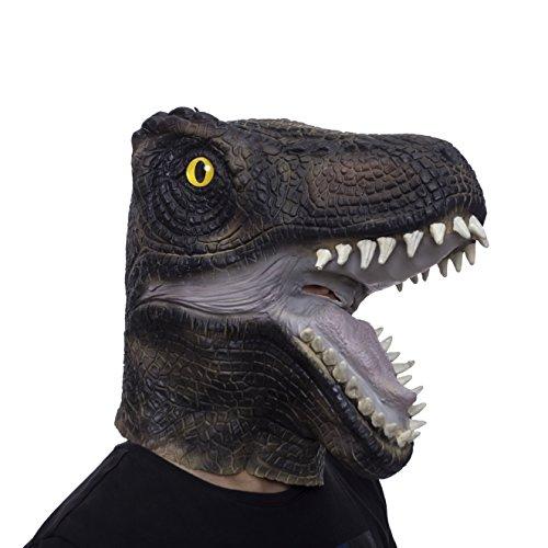 Dinosaur Mask, Jurassic Dinosaur Head Mask, Novelty Halloween Party Latex Dinosaur Head Costume Mask Black -