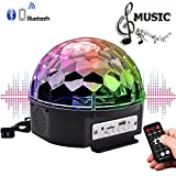 YouOKLight Sound Activated 6 Color LED Music Crystal Magic Ball MP3 Disco DJ Stage Lighting with Remote Control for Home Room Dance party Birthday Gift Kids Club Wedding Decorations