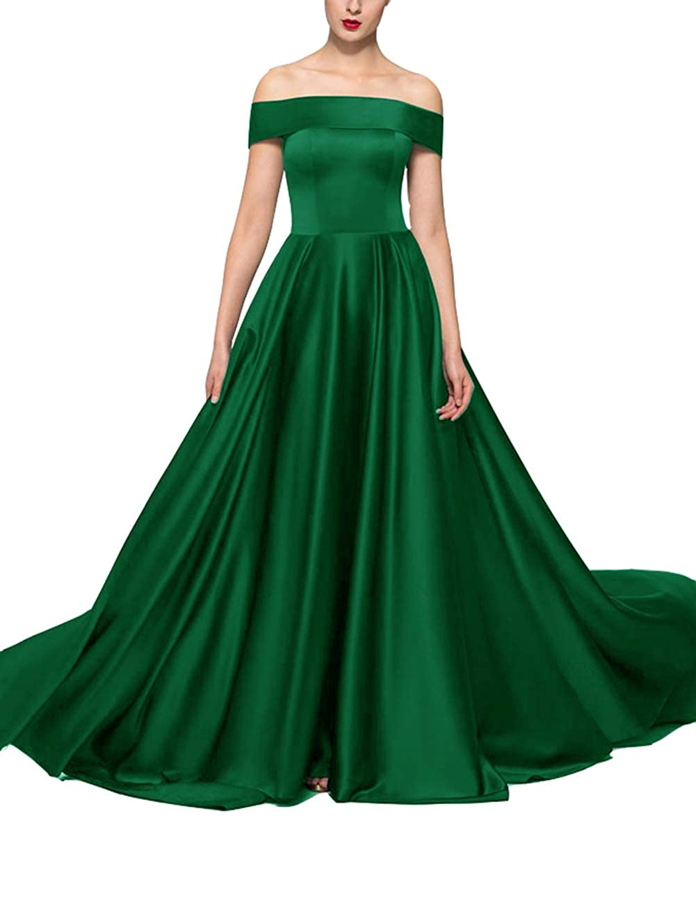 Green Uther Formal Wedding Guest Party Dresses Off The Shoulder ALine Long Evening Dress
