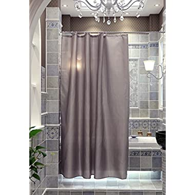 Shower Curtain, 71X71inch Waterproof Polyester Fabric Bathroom Curtains with 10 Hooks (Silver Gray)