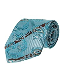 Mens Tie Turquoise Teal with Paisley Pattern Standard Size Fashion Necktie