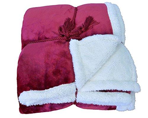 Micro Mink Sherpa Throw (Napa Super Soft Micro Mink Fleece Sherpa Bed Throw TV Blanket 50 x 60 Reversible Wine)