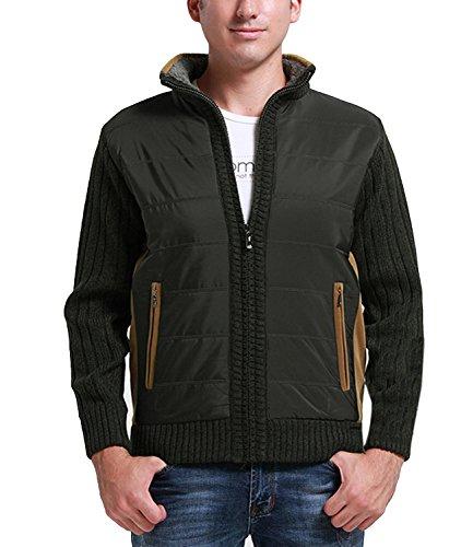 Silk Stretch Mock Neck Sweater - Nidicus Men Mock Neck Thicken Fleece Inside Thermal Full Zipper Cardigan Flowergreen M