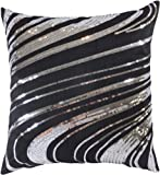 """Decorative Silver Sequins Floral Throw Pillow Cover 18"""" Black"""
