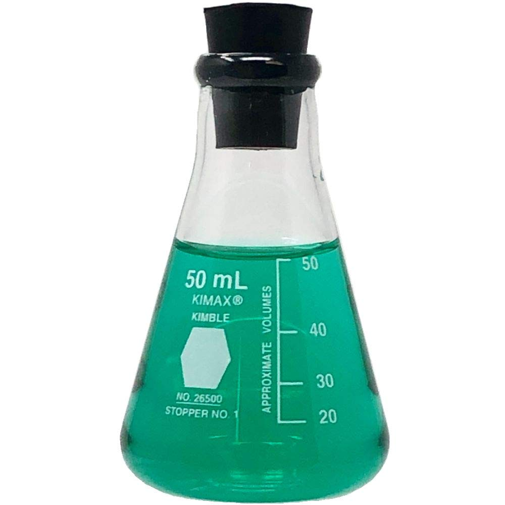 Single 2000ml Narrow Mouth Erlenmeyer Flask with Rubber Stopper Kimble KIMAX 26500-2000