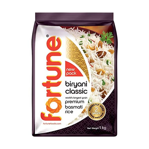Fortune Biryani Classic, Premium basmati Raw Rice, Aged for 2 Years, 1 kg 2021 July Perfectly aged for 24 months Ideal for special occasions Enticing aroma
