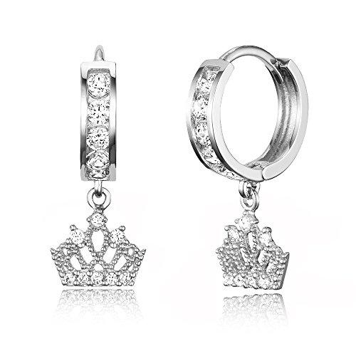 925 Sterling Silver Rhodium Plated Channel CZ Princess Crown Baby Girl Hoop Huggie Earrings