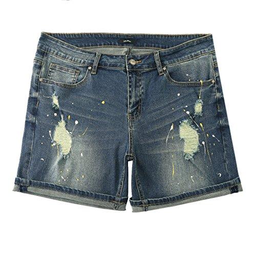MSSHE Women's Plus Size Printed Cuffed Denim Shorts by MSSHE (Image #2)