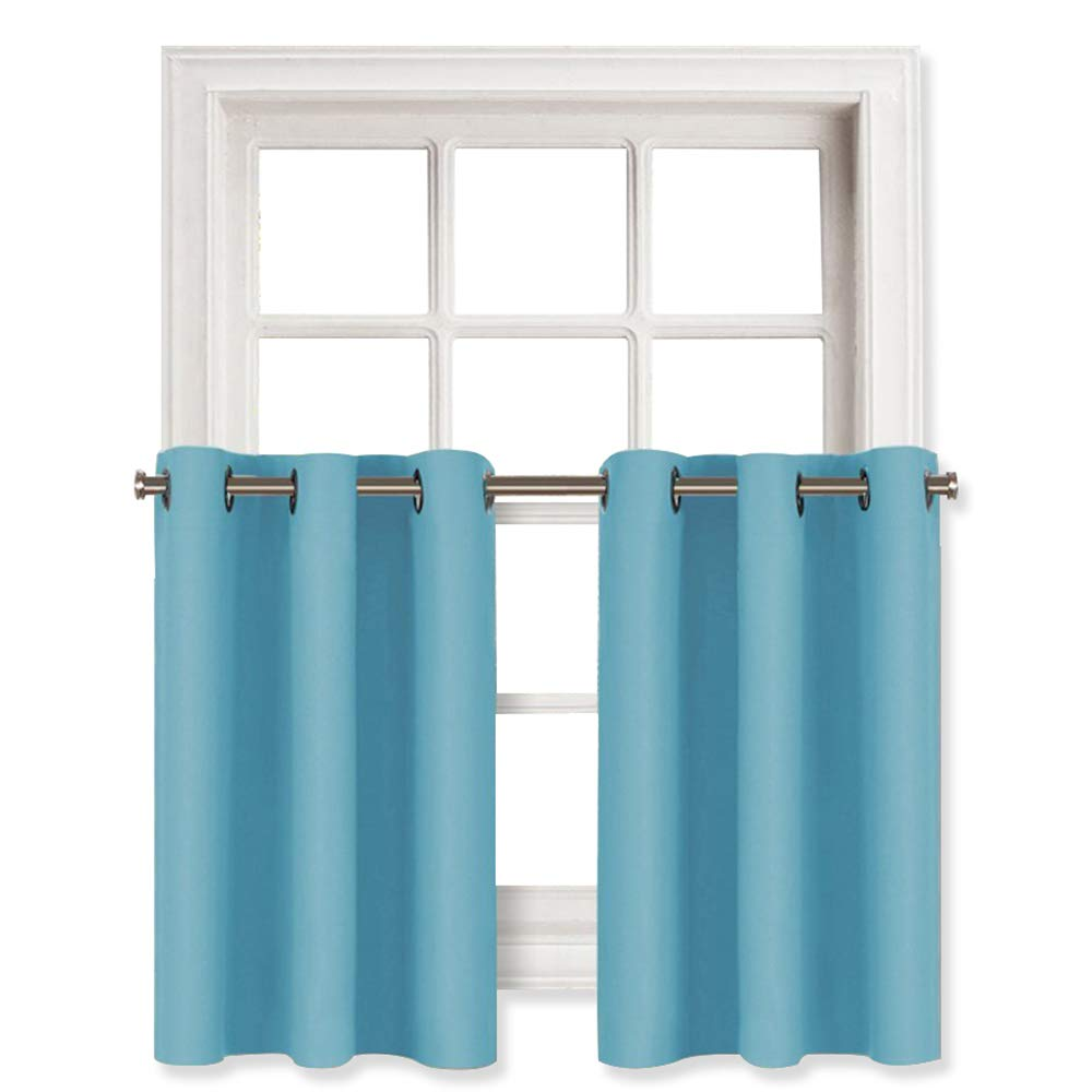 NICETOWN Thermal Insulated Window Panels - Energy Efficient Home Decor Grommet Top Curtains for Bedroom (29 by 36 + 1.2 Inches Header, Turquoise=Light Blue, 2 Packs)