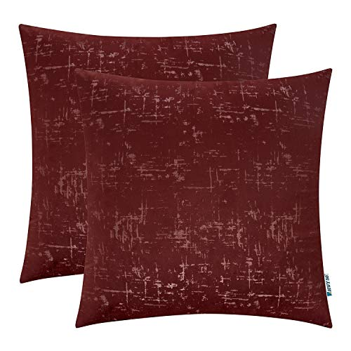 HWY 50 Velvet Soft Soild Decorative Throw Pillow Covers Set Cushion Cases for Couch Bedroom Sofa Maroon Comfortable 20 x 20 inch Pack of 2 (Set Sofa Maroon)