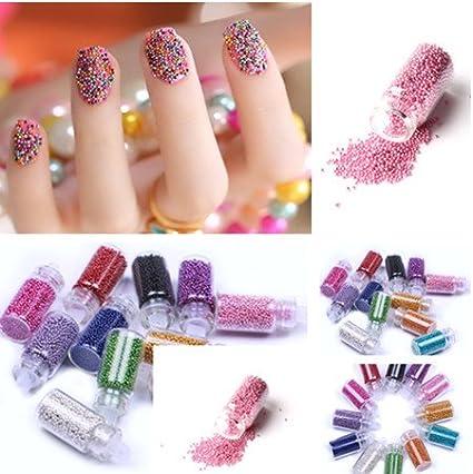 12 botella mini de color de uñas de arte de caviar cuentas arte de uñas manicura