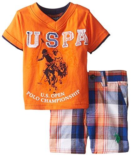 U.S. Polo Assn. Baby-Boys Newborn Plaid Short and V-Neck T-Shirt, Light House Orange, 3-6 Months