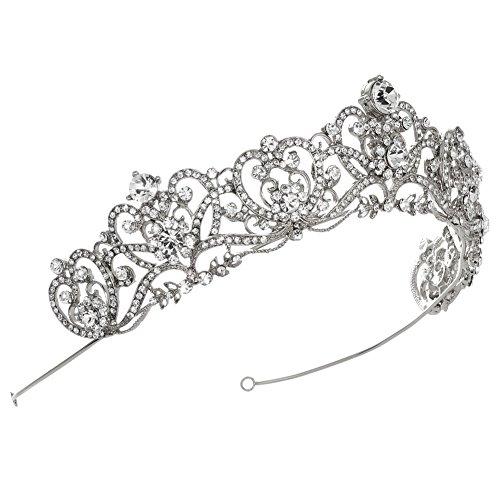 USABride Vintage Silver-Tone Rhinestone Crown, Royalty Crystal Bridal Tiara 3173