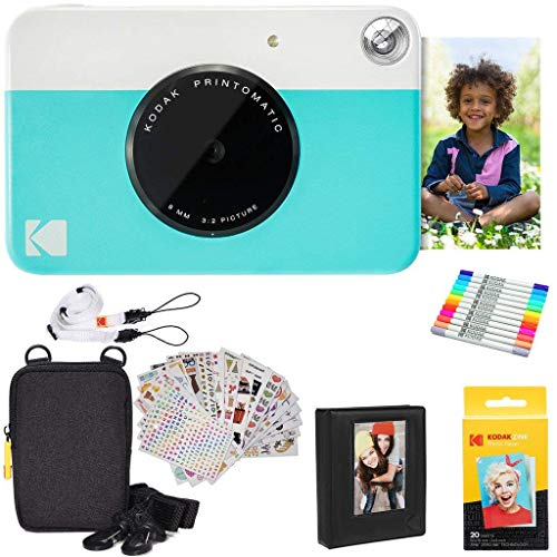 Kodak Printomatic Instant Camera (Blue) Gift Bundle + Zink Paper (20 Sheets) + Deluxe Case + 7 Fun Sticker Sets + Twin Tip Markers + Photo Album + Hanging Frames + Comfortable Neck Strap