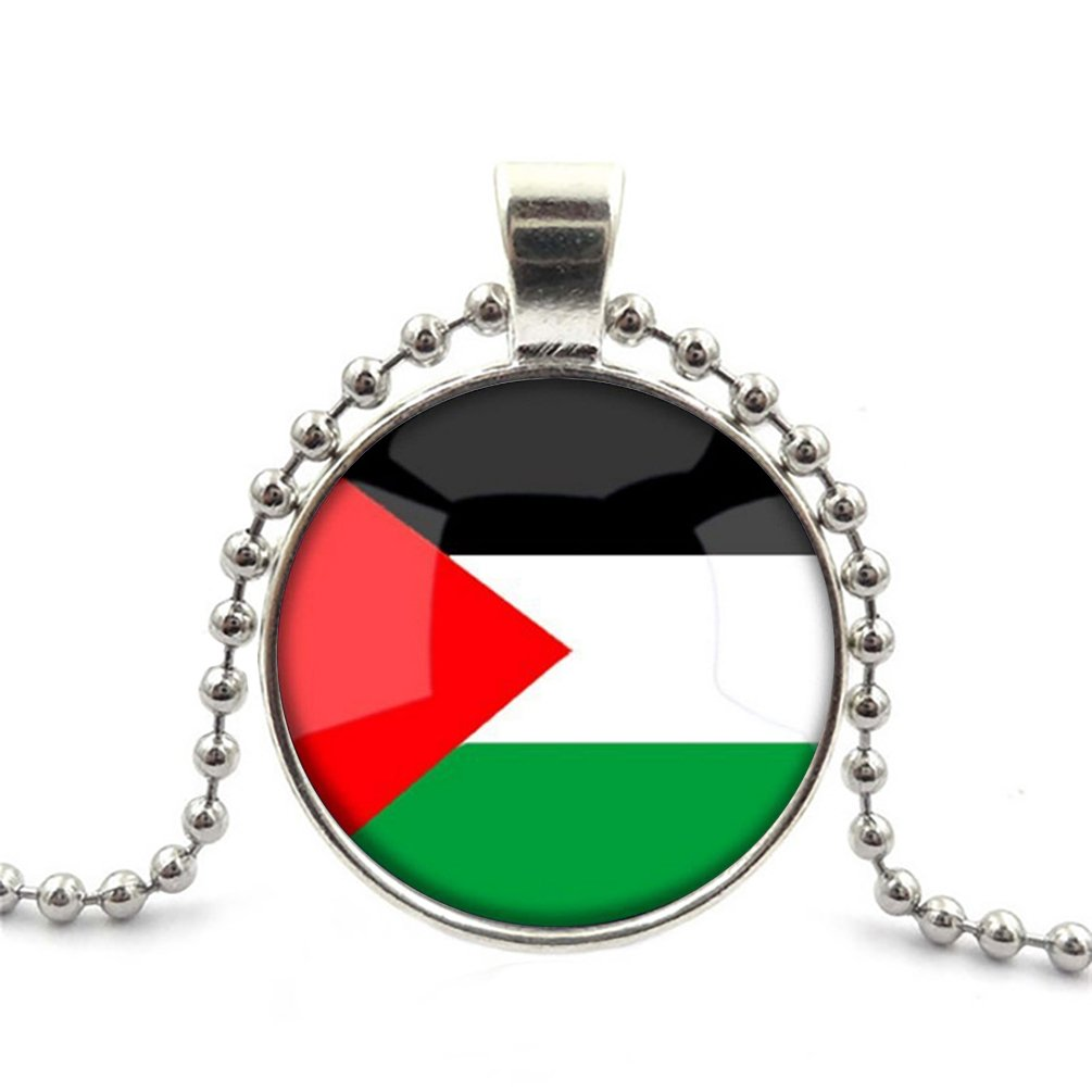 The Hashemite Kingdom of Jordan National Flag Glass Cabochon Pendant Necklace Round Choker Silver Plating Bead Chain Healing Amulet