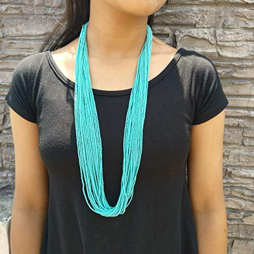 Turquoise Long Strand Necklace in Traditional Nepal Style, Handmade in Nepal,N8
