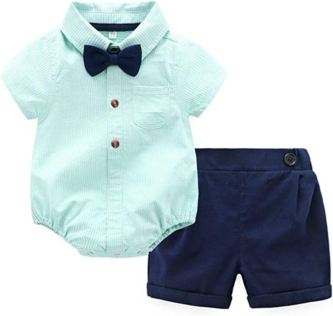 Baby Costume de B/éb/é Gar/çon Gentleman Chemise T-Shirt Hauts Manche Courte Noeud Papillon Rayures Shorts Bretelles Pantalons Couleur Unie Confortable Gar/çon V/êtements