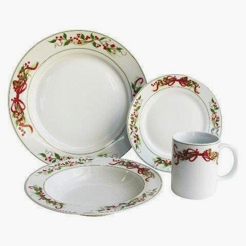 American Atelier Holly & Berry Dinnerware Set for 4, 16 Piece ()