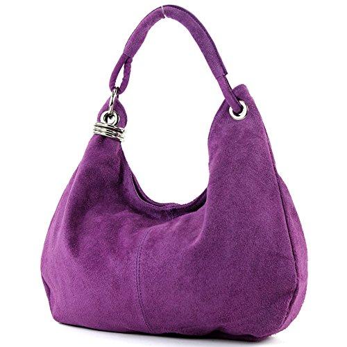 Borsa a mano borsa a tracolla shopping bag donna in vera pelle italiana T02, Präzise Farbe (nur Farbe):Lila