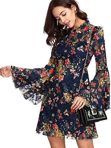 DIDK Women's Stretchy Floral Lace Print Bell Sleeve A Line Ruffle Short Dress Navy Medium