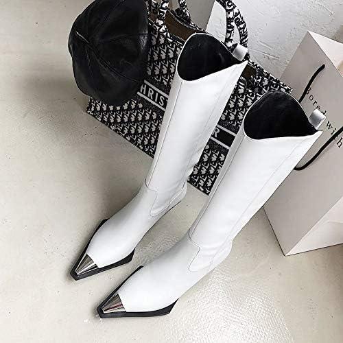 ACWTCHY Metallkappe Echtes Leder Starke Ferse Lange Stiefel Frauen High Heel Schuhe Herbst Büro Damen Schuhe 5,5