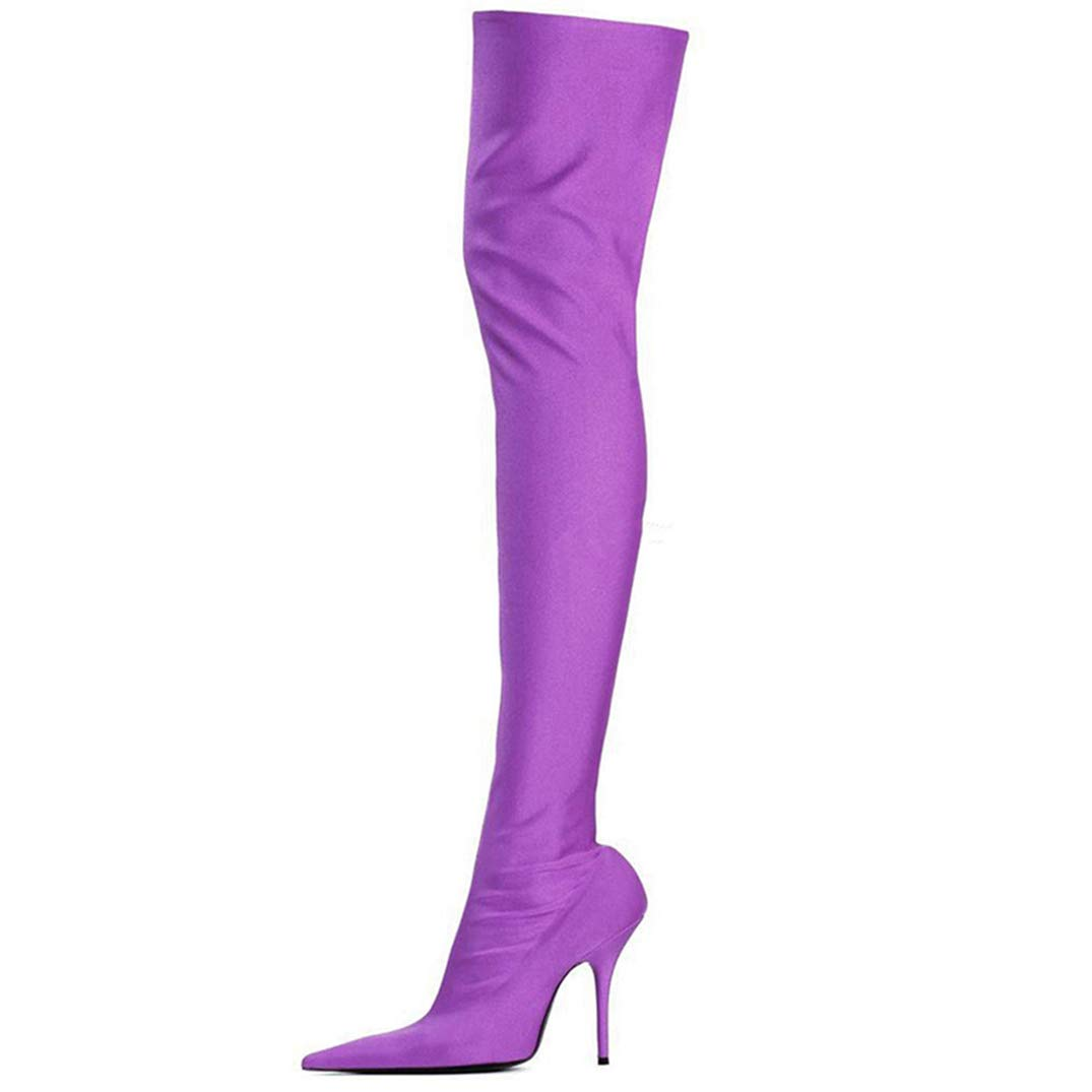 Purple Over The Knee Boots Thin High Heels Party shoes Women Pointed Toe Satin Boots