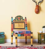 Theshopy Wooden Hand Made Hand Painted Chair Bank Folding With Upholstery Seat #A533 (Multicolor)