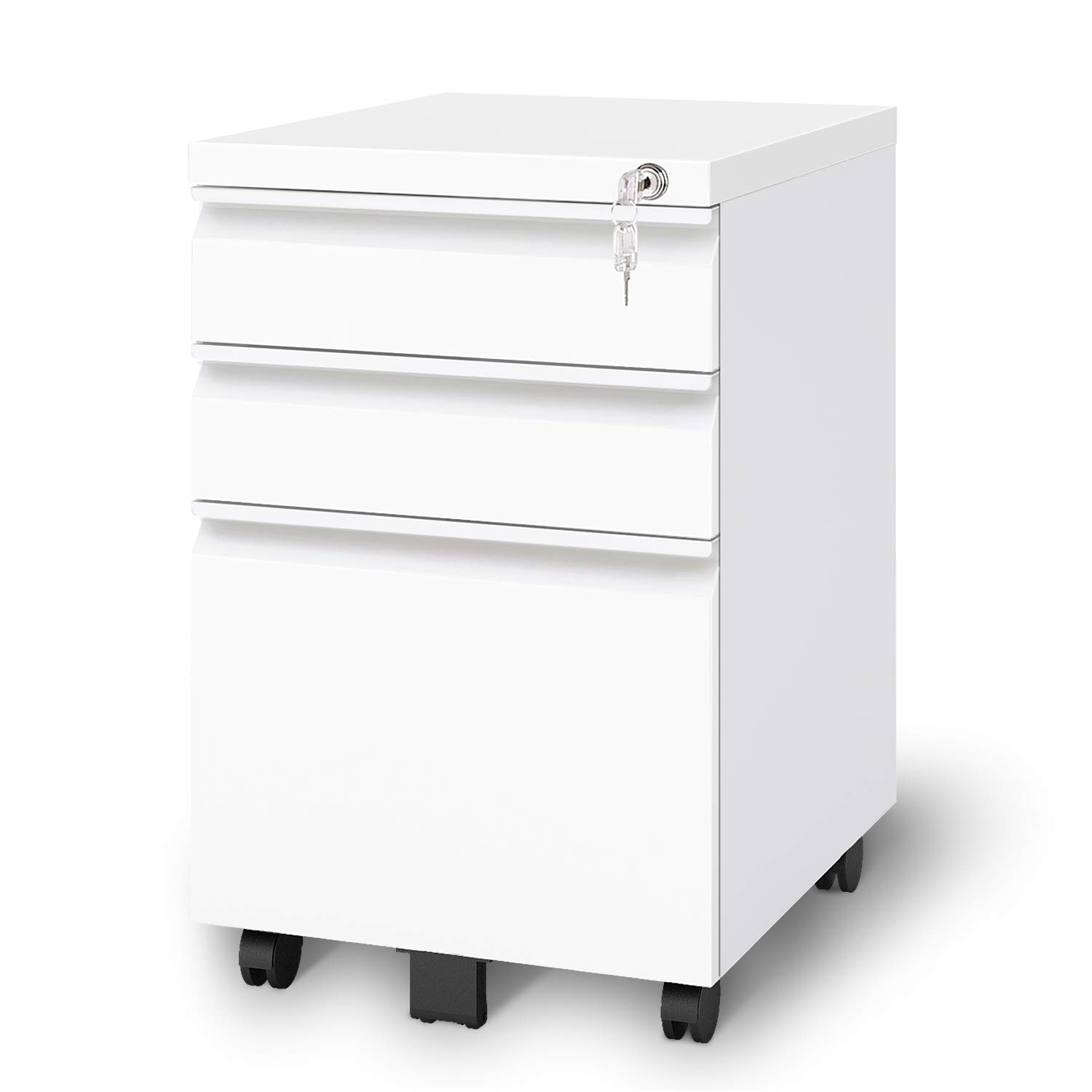 DEVAISE 3 Drawer Metal File Cabinet, Locking Filing Cabinet on Wheels, White by DEVAISE